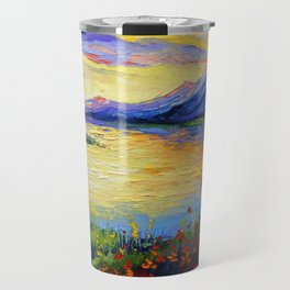 Flowers on the shore of the lake Travel Mug