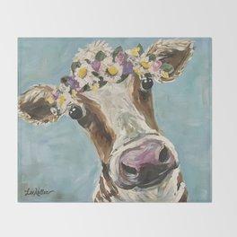 Flower Crown Cow Art, Cute Cow With Flower Crown Throw Blanket