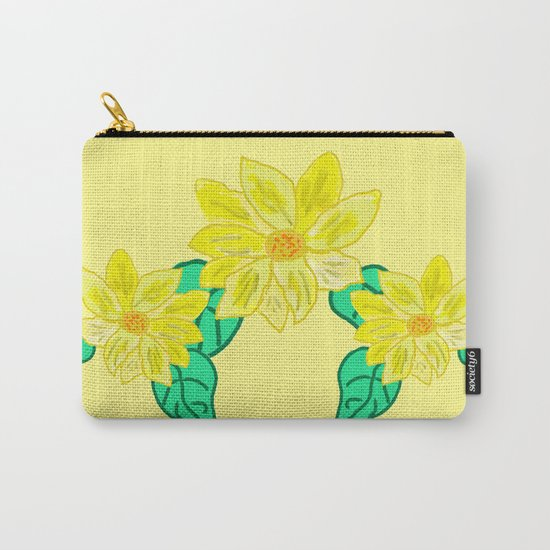 Painted Flower Carry-All Pouch