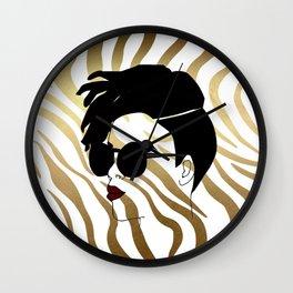 Black Woman on Gold Zebra Print Wall Clock