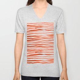 Irregular watercolor lines - orange Unisex V-Neck