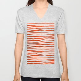 Irregular watercolor lines - orange Unisex V-Neck