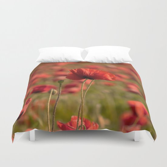 Poppy poppies summer field Duvet Cover
