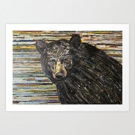 Colorful Black Bear Collage by C.E. White Art Print