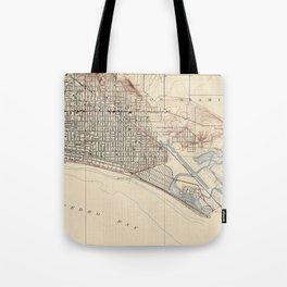 Vintage Map of Long Beach California (1923) Tote Bag