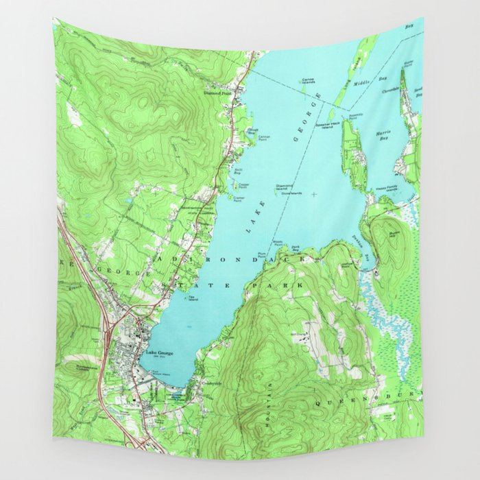 Vintage Map of Lake George New York (1966) Wall Tapestry by ...