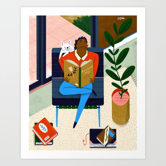 Frenchies Reading Frenchies Art Print