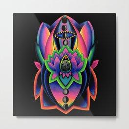 Neon Lunar Lotus Metal Print