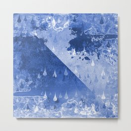 Abstract Blue Rain Drops Design Metal Print
