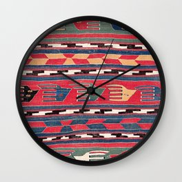 Southwestern Nomad III // 18th Century Colorful Red Blue Green Yellow Shapes and Bands Pattern Wall Clock
