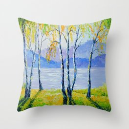 Birch trees by the river  Throw Pillow