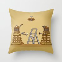 dalek Throw Pillows featuring Dalek DIY by Doodle Dojo