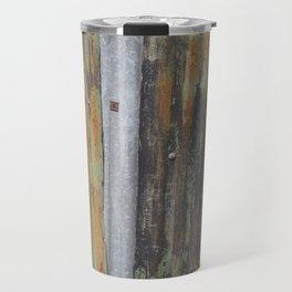 corrugated rusty metal fence paint texture Travel Mug