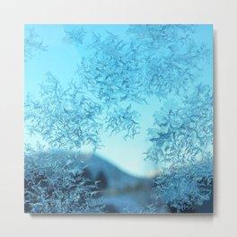 Watercolor Ice 22, Rockies Through Snowflakes Metal Print