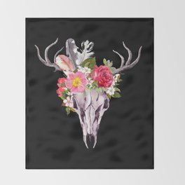 Bohemian watercolour skull with feathers and flowers Throw Blanket