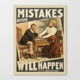 Vintage poster - Mistakes Will Happen Canvas Print