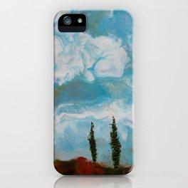 Cypress Trees encaustic wax painting by Seasons Kaz Sparks iPhone Case