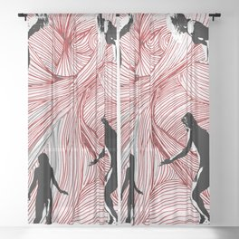 Red Hand Sheer Curtain