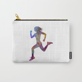 woman runner running jogger jogging silhouette 01 Carry-All Pouch