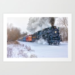 North Pole Express Train (Steam engine Pere Marquette 1225) Art Print