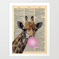 Bubble Gum Giraffe on dictionary page Art Print