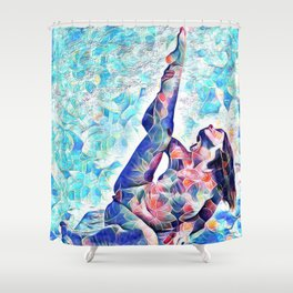 3047-JPC Abstract Nude in Blue Green Yoga Stretch Feminine Power Shower Curtain