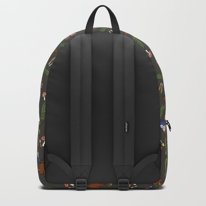 GNOME & DACHSHUND IN THE MUSHROOM FOREST/SOFT BLACK BACKGROND Backpack