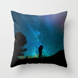 Silhouettes of a loving couple against a starry sky Throw Pillow