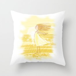 Little Girl In The Wind - Artwork that re-visits your favorite childhood memories Throw Pillow