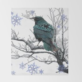 CROW/RAVEN IN WINTER TREE & SNOWFLAKES Throw Blanket