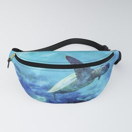Sea Turtle Into The Deep Blue Fanny Pack