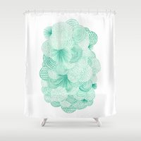 bianca green Shower Curtains featuring Green Fields by Marcelo Romero