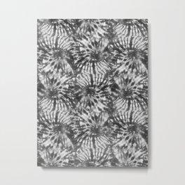 Black & White Tie Dye Swirls Metal Print