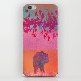 Little bear in the colorful field, leaf, colors, pink, blue, field, grass, bear iPhone Skin