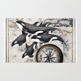 Orca Pod Vintage Map Rug
