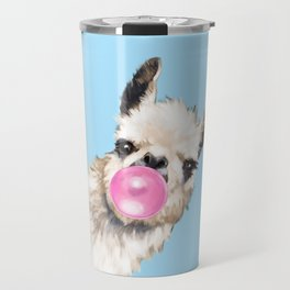 Bubble Gum Sneaky Llama in Blue Travel Mug