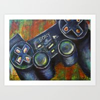 playstation Art Prints featuring Playstation  by Megan Bailey Gill