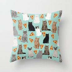 Cats with Pizza slices cheesy food funny cat lover gifts by pet friendly pet portraits Throw Pillow