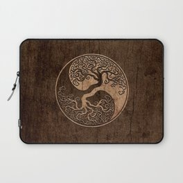 Rough Wood Grain Effect Tree of Life Yin Yang Laptop Sleeve