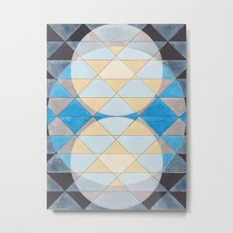 Triangle Pattern No. 14 Circles in Black, Blue and Yellow Metal Print