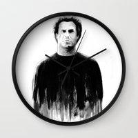 will ferrell Wall Clocks featuring DARK COMEDIANS: Will Ferrell by Zombie Rust