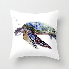 Swimming Sea Turtle Throw Pillow