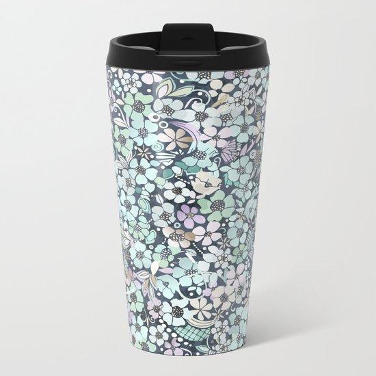 Flower Circle, mist blue Metal Travel Mug