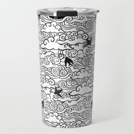 Doodle clouds and swallows. Cloudscape pattern with birds. Travel Mug