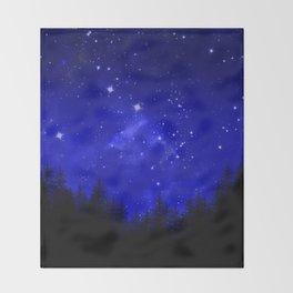 Blue Galaxy Forest Night Sky Throw Blanket