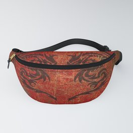 Distressed Dueling Dragons in Octagon Frame With Chinese Dragon Characters Fanny Pack