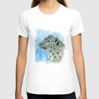 snow leopard T-shirts featuring Snow Leopard & snowflakes 860 by S-Schukina