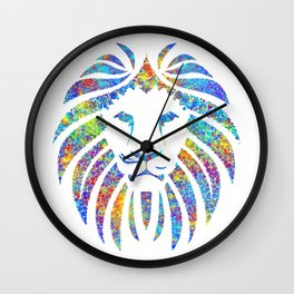 Colorful Watercolor Lion Wall Clock