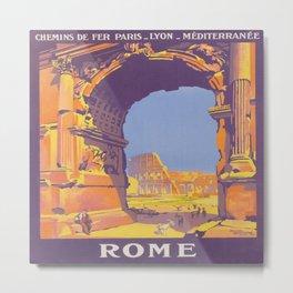 Rome, Italy Vintage Travel Poster Metal Print