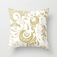 nouveau Throw Pillows featuring Nouveau by CyberneticGhost